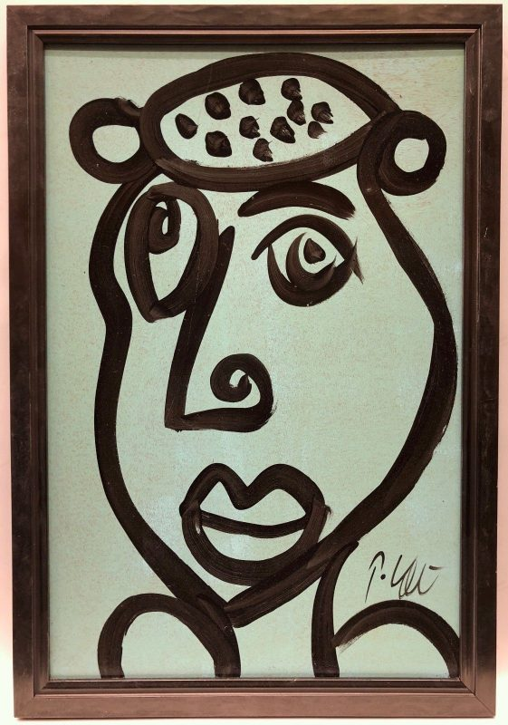 Neo Expressionism Abstract Face Portrait Oil Painting by Peter Keil Mint/Black