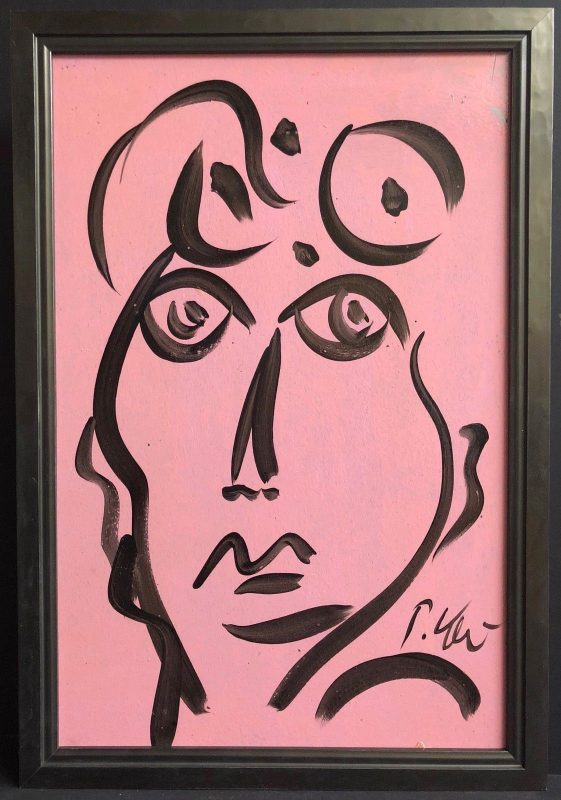 Neo Expressionism Abstract Pink Face Portrait Oil Painting by Peter Keil