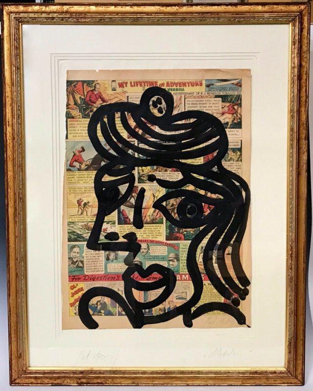 """Peter Keil """"Matador"""" Acrylic Newsprint Painting"""