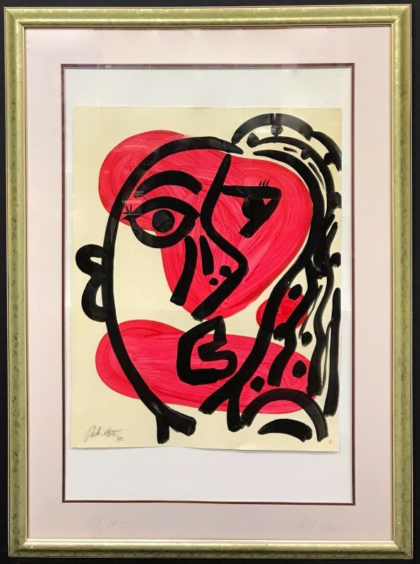 Neo Expressionist Abstract Face Acrylic on Paper Painting Peter Keil Paris 1970s