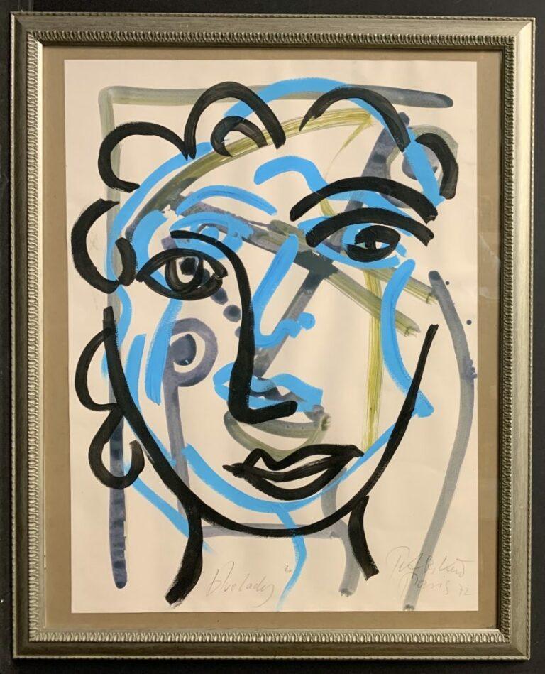 "Peter Keil ""Blue Lady"" Oil Painting Paris"