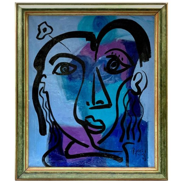 """Peter Keil """"the Blue Period"""" Expressionist Oil Portrait Painting"""