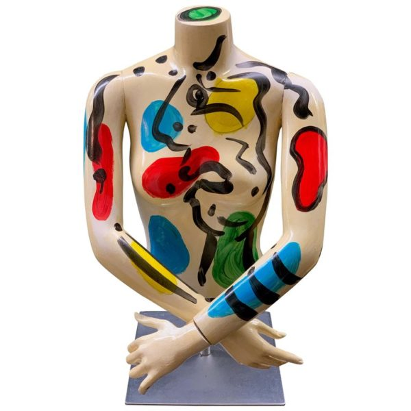 Peter Keil Abstract Expressionist Painted Mannequin Torso Fiberglass