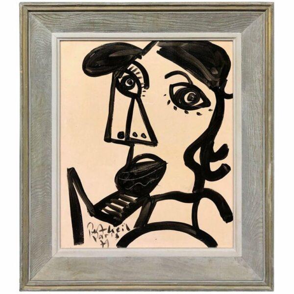 Peter Keil Expressionist Oil Painting Portrait 'Studio RVC de Turenne Place de Bastille'