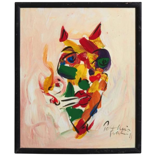 Peter Keil Expressionist Oil Painting of a 'Small Devil'