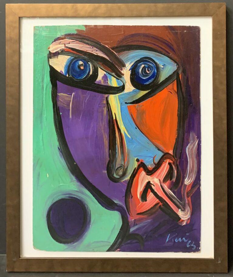 Peter Keil Smoking Oil Painting 1965
