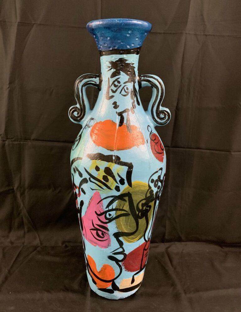 Peter Keil Tall Ceramic Painted Vase