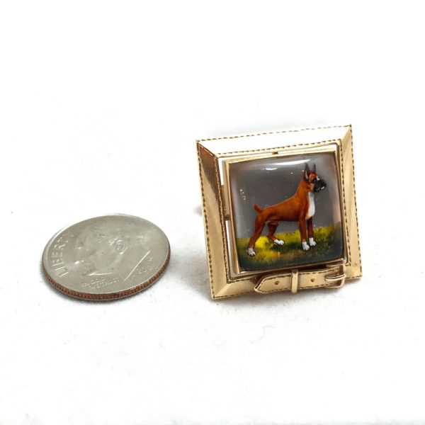 Reverse Painted Crystal 14K Gold Boxer Cufflinks