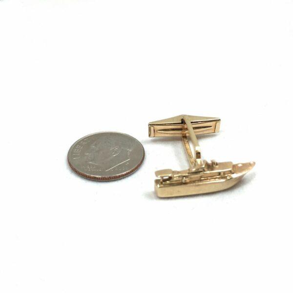 Vintage 14K Gold Speed Boat Cufflinks