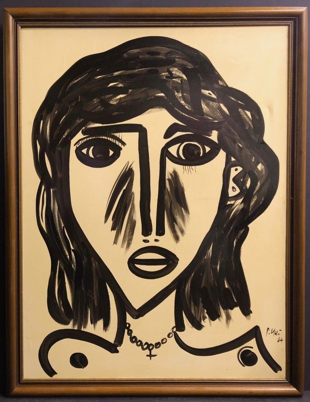 """Vintage Oil on Canvas """"Abstract Face"""" Painting by Peter Robert Keil Palma 1960's"""